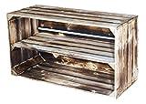 Vintage-Möbel24 GmbH 4er Set Grosse GEFLAMMTE HOLZKISTE mit MITTELBRETT 74,5X40,5X31CM,Holzregal;Regal,Schuhregal, Apfelkiste,Holzkiste,Obstkisten,Weinkiste