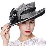 Koola's hats Damen Sonnenhut 3 Schichten Sinamay grau schwarz Tee-Party Ascot Rennen Derby-Hut