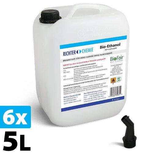 30L (6 x 5L) Bioethanol 100% - Markenprodukt BioFair - geprüfte Laborqualität - MADE IN GERMANY