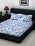 Story@Home Metro Collection 152 TC 100% Cotton Double Bedsheet with 2 Pillow Covers, Mercerized Finish - Floral, Blue and White