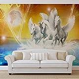 Geflügelte Pferde Pegasus Gelb - Wallsticker Warehouse - Fototapete - Tapete - Fotomural - Mural Wandbild - (587WM) - XL - 208cm x 146cm - VLIES (EasyInstall) - 2 Pieces