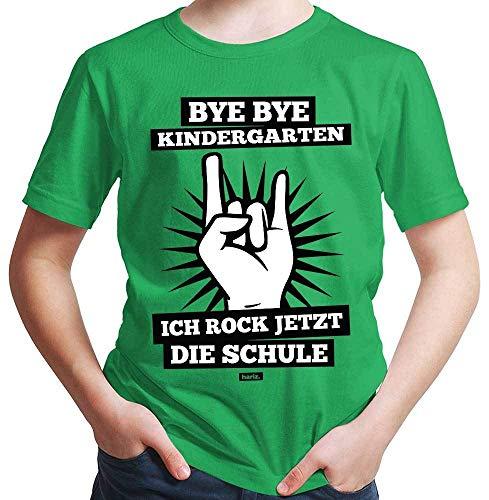 HARIZ  Jungen T-Shirt Bye Bye Kindergarten Ich Rock Jetzt Die Schule Einschulung Inkl. Geschenk Karte Grün 140/9-11 Jahre