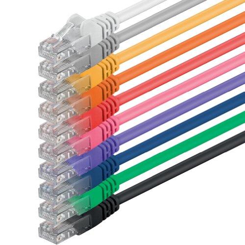 1aTTack CAT6 UTP Netzwerk-Patch-Kabel 1m mit 2X RJ45 Stecker Set (10 Stück, 10 Farben) -