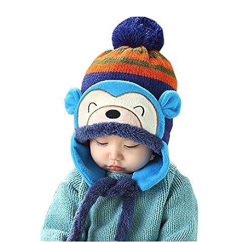 Bluestercool New Fashion Winter Baby Girl Boy Ear Thick Knit Beanie (Bleu)