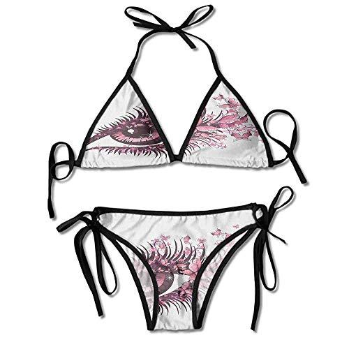 Bikini Women's 2 Pieces,Butterflies Eyelashes Mascara Stare Sexy Bikini 2 Pieces