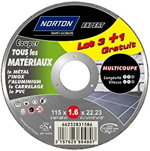 Norton Lot de 3 + 1 Meules multi coupe 115 x 1,6 x 22,2 mm