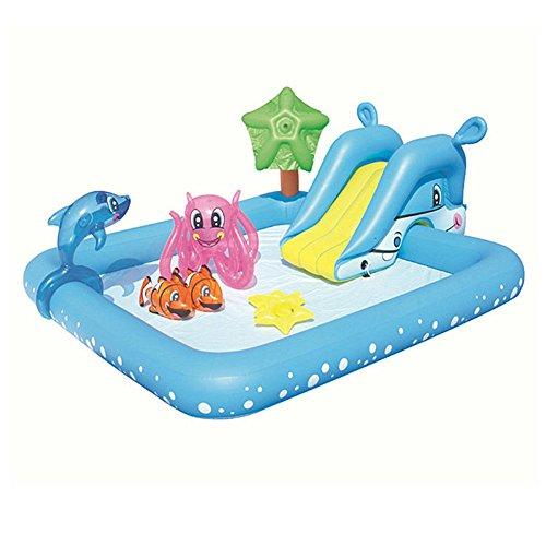 Große Kinder Wasser Aufblasbare Schwimmbad Planschbecken Spielzeug Pool Ball Pool Rutsche Größe: 239 * 206 * 86cm BULE (Farbe : B)