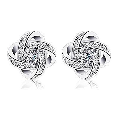 B.Catcher Women Earrings Studs Sterling Silver Cubic Zirconia Gemini Earring Sets
