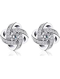 BCatcher Earings Woman Silver Earrings Studs Cubic Zirconia Gemini Sets