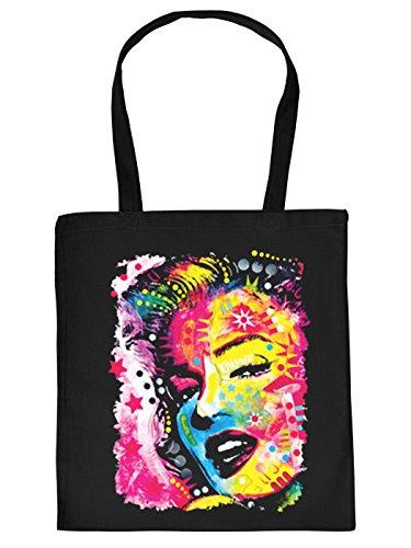 Stofftasche mit buntem Motiv: Marilyn Monroe - Einkaufstasche aus Baumwolle - Farbe: schwarz