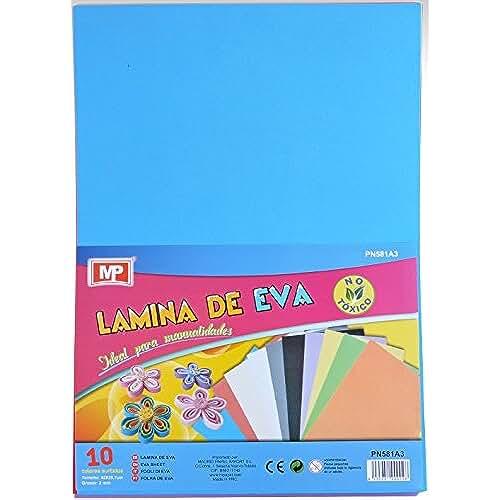 goma eva kawaii MP Eva - Pack de 10 laminas de goma Eva, multicolor