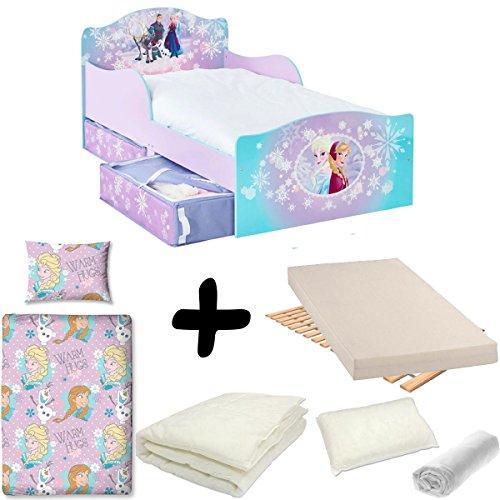 Bebegavroche Pack Completo Cama cajones Frozen Disney = Cama + colchón &–Juego + edredón + Almohada