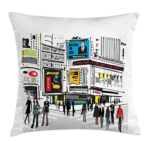 HLKPE New York Throw Pillow Cushion Cover, Hand Drawn Interpretation of Pedestrians in Times Square with Busy City Cartoon, Decorative Square Accent Pillow Case, Multicolor,12 X 12 Inches New York Satin Bow