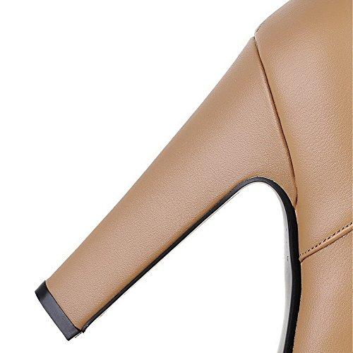VogueZone009 Damen Reißverschluss Hoher Absatz Rein Schnalle Niedrig-Spitze Stiefel Aprikosen Farbe