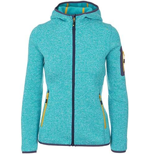 Strickfleecejacke Damen CMP Outdoor Fleecejacke dünn Sweatjacke mit Kapuze Strickjacke große Größen Kiara II, Größe:44, Farbe:Himmelblau-Mel-Gelb