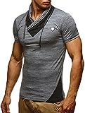 LEIF NELSON Herren T-Shirt Sommer modernes Kurzarm-Shirt Top Sweatshirt Stehkragen Hoodie Sweater Basic Vintage Slim Fit LN805; Größe L, Anthrazit