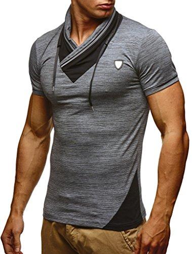 LEIF NELSON Herren Sommer T-Shirt Stehkragen Slim Fit Casual Baumwolle-Anteil | Cooles weißes schwarzes Männer Kurzarm-T-Shirt Hoodie-Sweatshirt-Longsleeve lang | LN805 Anthrazit Large
