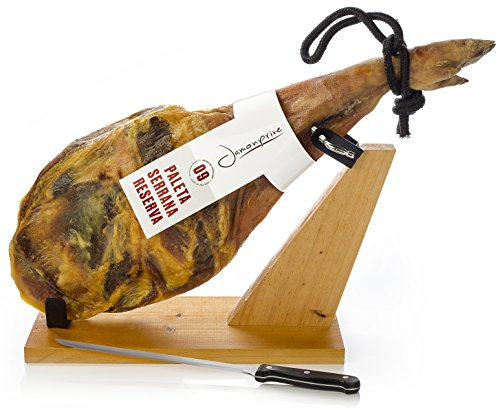 Serrano Schinken (Vorderschinken) Reserva + Schinkenhalter + Messer 4,5-5 Kg | Spanischer Schinken