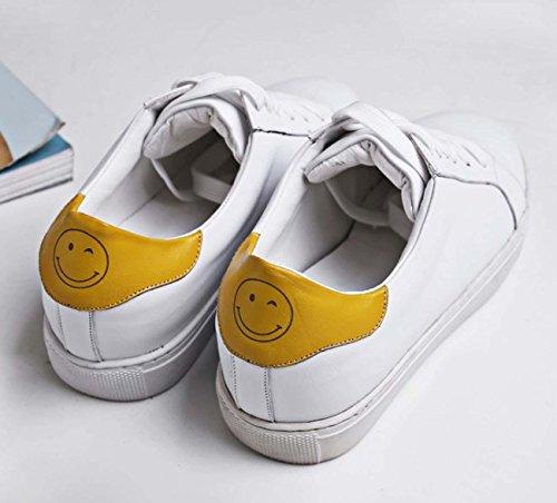 Pattini di cuoio Casual Scarpe da ginnastica alla moda Lace-Up Fronte Sorridente Bianco Scarpe Chic yellow smile
