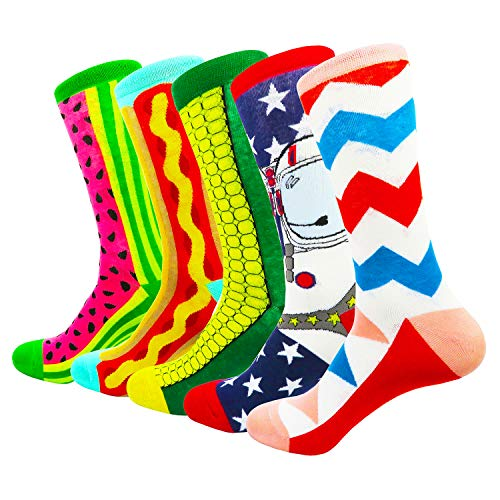 HIWEAR Herren Kleid Bunte lustige Design Komfort gekämmte Baumwolle Crew Socks Pack (Design-mix1)