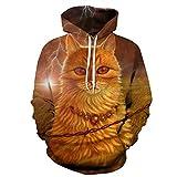 Leon's shop 3D Hoodie,Digital-Druck-Paar-Baseball-Anzug mit Pocket Pharao Cat, XL