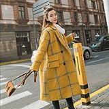 DEED Frauenmantel-Herbst und Winter College Wind Zweireihig Gitter Mantel Jacke Weibliche Midties Wollmantel,Gelb,XL