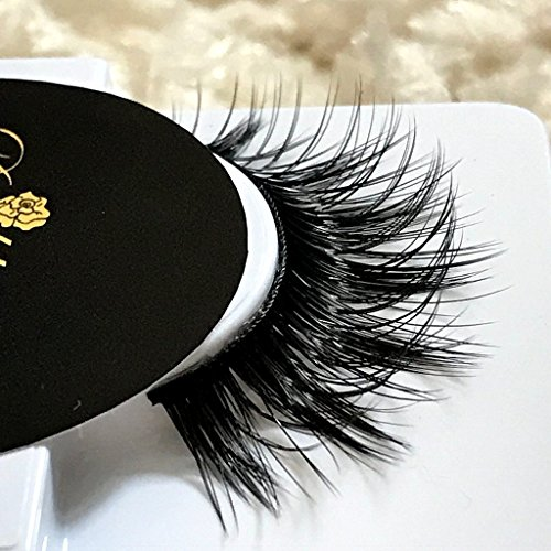 *VIXEN* 3D Faux Mink Eyelashes | Human Hair Strips | Quad Layered | Cruelty Free | Reuseable Wispie False Lashes Wispy Lilly Thin Natural Curved Band
