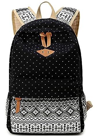 Keshi 2015 nouveau sac à dos sac d'épaule pour école hiking camping randonnée voyage etc Noir Toile