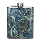 Large Formless Crack Lines and Granite Rock Abstract Design Slate Blue Grey Gift for Men 304 Stainless Steel Flask 7oz