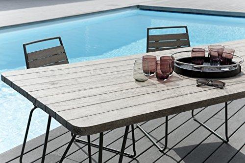 MACABANE 509000 Table à Manger Pieds Scandi Couleur Gris en Teck et Acier Dimension 200cm X 90cm X 77cm