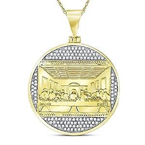Herren-Anhänger 10 Karat Gelbgold Diamant rund 1/2 Karat
