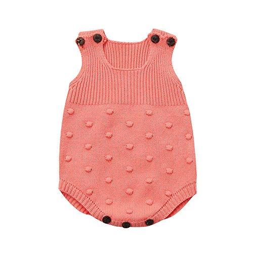 Baby Mädchen Strampler Weste Babybekleidung Kinderkleidung Loveso Pyjama Jungen Mädchen Bekleidung Kintted Vest Einfarbig (6~18M) (6M, Rosa) (Multi Kleinkind Bekleidung)