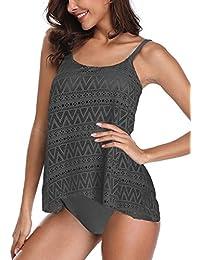 945cd78693ef4 AMAGGIGO Amenxi Women's Plus Size Mesh Bikini Set Padded Tankini Swimwear 2  Pieces Swimsuit