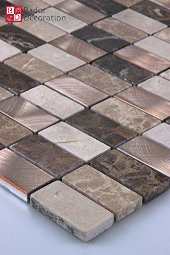 Mattonelle di mosaico in vetro a mosaico mosaico piastrelle di vetro in marmo Alluminio Bronzo (Bronzo Bagno Piastrelle)