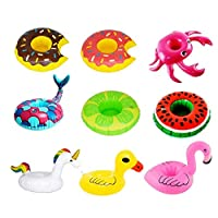Inflatable Drink Holder Set of 9Pcs Pool Cup Holders Unicorn Flamingo Donut Floats for Summer Pool Party Water Fun 9Pcs