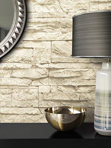 Steintapete Vlies Beige | schöne edle Tapete im Steinmauer Design | moderne 3D Optik für Wohnzimmer, Schlafzimmer oder Küche inklusive der Newroom-Tapezier-Profibroschüre mit Tipps für perfekte Wände