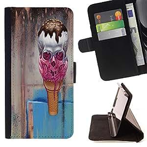 - Devil Case - Skull Devil Pattern Sugar Skull Skulls -Stil PU-Lederetui Mappen-Schlag-Standplatz [Klappen-Schliessen] Cover FOR HTC DESIRE 816 ---