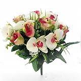 Blumenstrauß Rose und Orchidee–künstliche Seide Bush Blumen, Pink, Orange & Ivory, 1 Bunch