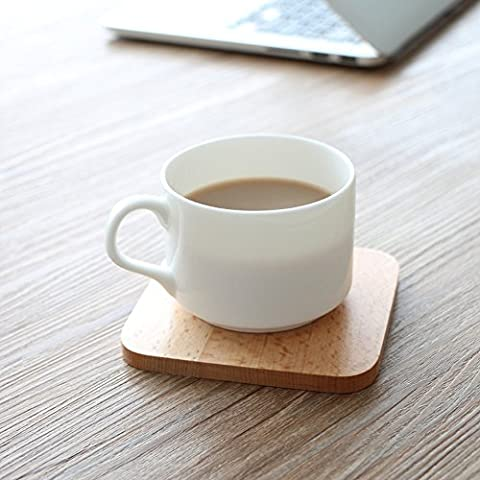 allemand Imports du bois de hêtre massif sous-verres Tapis de Isolation européenne Creative Sets de table Snack Assiette, carré, 10*10*0.8cm