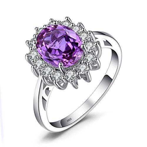 Jewelrypalace 2.8ct Synthetisch Lila-Blau Alexandrit Saphir Prinzessin Diana Silberring Ring Solid 925 Sterling Silver