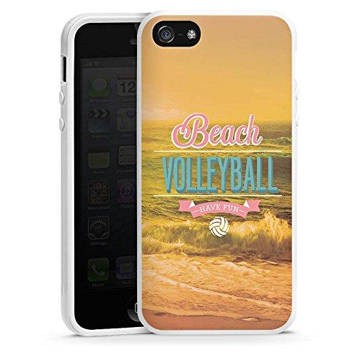 Apple iPhone 4 Housse Étui Silicone Coque Protection Volleyball Plage Été Housse en silicone blanc