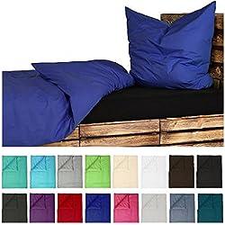 4tlg Baumwoll Bettwäsche Set in Hochwertiger RENFORCE Qualität 2x 135x200cm + 2x 80x8 cm in UNI Einfarbig Royal Blau NEU mit RV