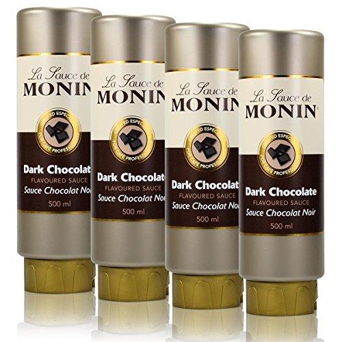 4x Monin Dunkle Schokolade Sauce 500 ml - DarkChocolate Flavoured Sauce