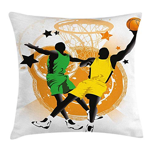 errterfte Boy's Room Silhouettes of Professional Players in Uniforms Abstract Stars Rings 18 X 18 inch Unique Pattern Home Decoration Pillowcase Best Gift