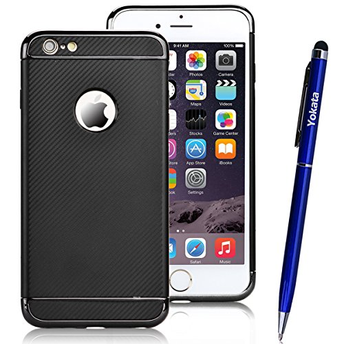 Yokata Apple iPhone 6 / iPhone 6s Hülle Weich Silikon Case mit Amovible Bumper Schutzhülle Dünne Case Cover + 1 X Capacitive Pen - Lila Schwarz