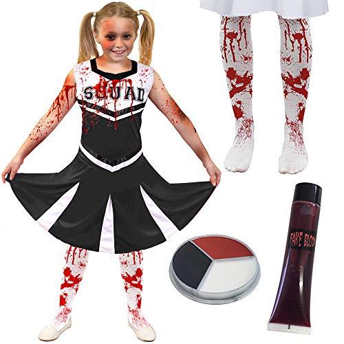 ILOVEFANCYDRESS Kinder Zombie SCHWARZ/WEISSES Cheerleader KOSTÜM VERKLEIDUNG= 4 GRÖSSEN=Kleid + BLUTIGE Strumpfhose + KUNSTBLUT + SCHMINKE= MEDIUM (Kind Cheerleader Kostüm Zombie)