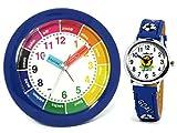 Atlanta Kinderwecker Jungen + Armbanduhr Blau Fußball - 1265-5 KAU