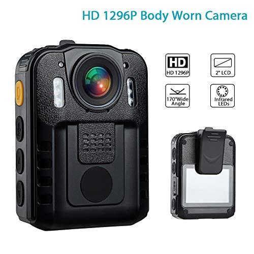 AKAKKSKY 1296P Polizei Kamera IR Nachtsicht Videorecorder mit 2-Zoll-Display, Nachtsicht, IR-Cam-Support-Video-Audio-Aufnahme CMOS Sensor, wasserdicht - Polizei-videorecorder