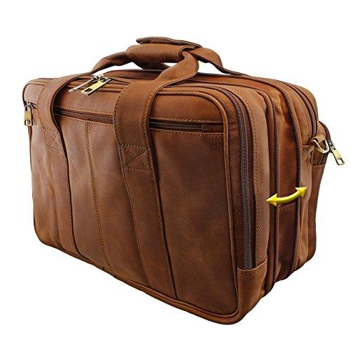 STILORD Grande borsa in pelle da Insegnante Professore Portadocumenti a tracolla per l'Ufficio Lavoro A4 raccoglitori in cuoio Uomo Donna, marrone