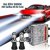EASY EAGLE H4 Xenon Kit HID Canbus Senza Errori Decodifica Ballast 55W 8000K Faro alto/basso Lampada Luce Con controllo